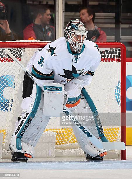 Goaltender Martin Jones of the San Jose Sharks in action during the preseason NHL game against Arizona Coyotes at Gila River Arena on October 7 2016...