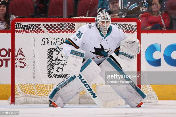 Goaltender Martin Jones of the San Jose Sharks in action during the first period of the NHL game against the Arizona Coyotes at Gila River Arena on...