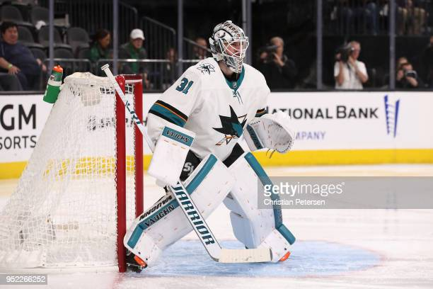 Goaltender Martin Jones of the San Jose Sharks in action in Game One of the Western Conference Second Round against the Vegas Golden Knights during...