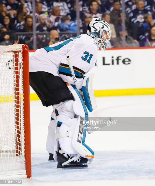 Goaltender Martin Jones of the San Jose Sharks keeps an eye on the play during second period action against the Winnipeg Jets at the Bell MTS Place...