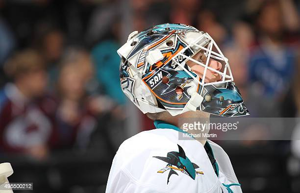 Goaltender Martin Jones of the San Jose Sharks looks on against the Colorado Avalanche at the Pepsi Center on November 1 2015 in Denver Colorado The...