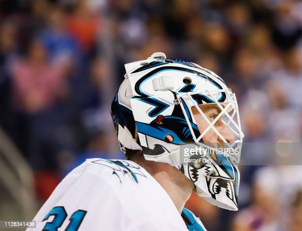Goaltender Martin Jones of the San Jose Sharks looks on during second period action against the Winnipeg Jets at the Bell MTS Place on February 5...