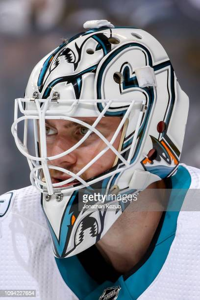 Goaltender Martin Jones of the San Jose Sharks looks on during third period action against the Winnipeg Jets at the Bell MTS Place on February 5 2019...