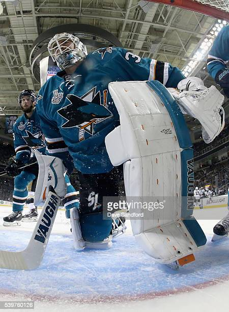 Goaltender Martin Jones of the San Jose Sharks looks on in the net while playing the Pittsburgh Penguins during the second period of the Game 6 of...