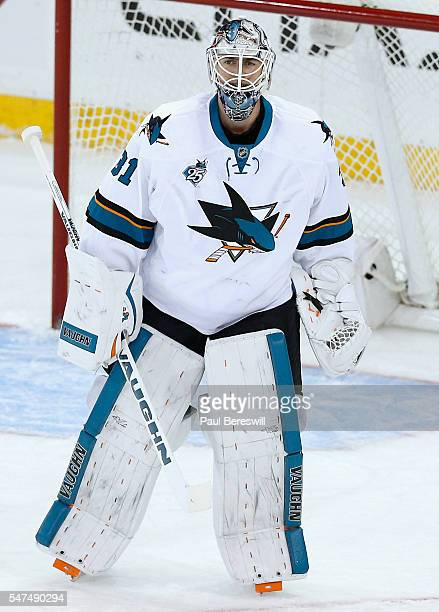 Goaltender Martin Jones of the San Jose Sharks plays against the New York Rangers at Madison Square Garden on October 19 2015 in New York New York