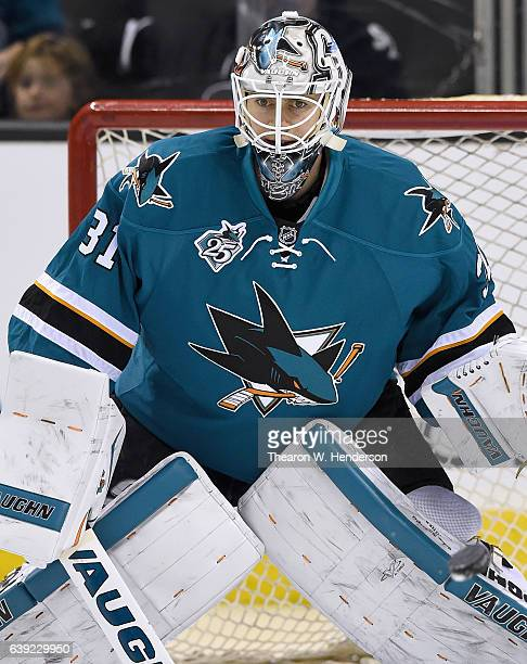 Goaltender Martin Jones of the San Jose Sharks plays in the game against the Toronto Maple Leafs at SAP Center on January 9 2016 in San Jose...