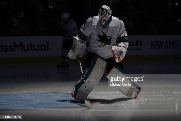 Goaltender Martin Jones of the San Jose Sharks skates back to the net for the start of the second period against the Colorado Avalanche in Game Four...