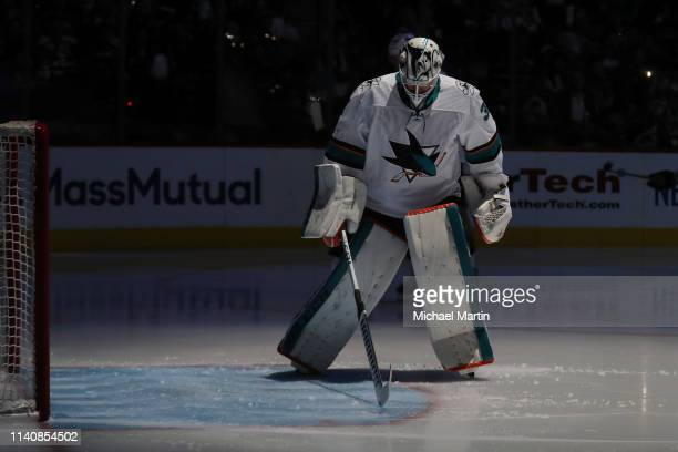 Goaltender Martin Jones of the San Jose Sharks skates to his crease prior to the start of the third period against the Colorado Avalanche in Game...