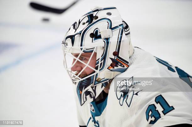 Goaltender Martin Jones of the San Jose Sharks smiles during warmup before the game against the Los Angeles Kings at STAPLES Center on March 21 2019...