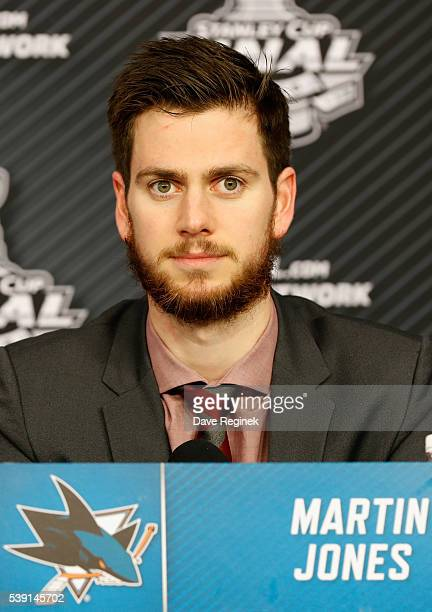 Goaltender Martin Jones of the San Jose Sharks speaks to the media after their 42 victory over the Pittsburgh Penguins in Game 5 of the 2016 NHL...