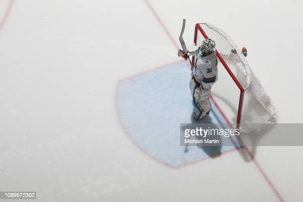 Goaltender Martin Jones of the San Jose Sharks stands ready against the Colorado Avalanche at the Pepsi Center on January 2 2019 in Denver Colorado...