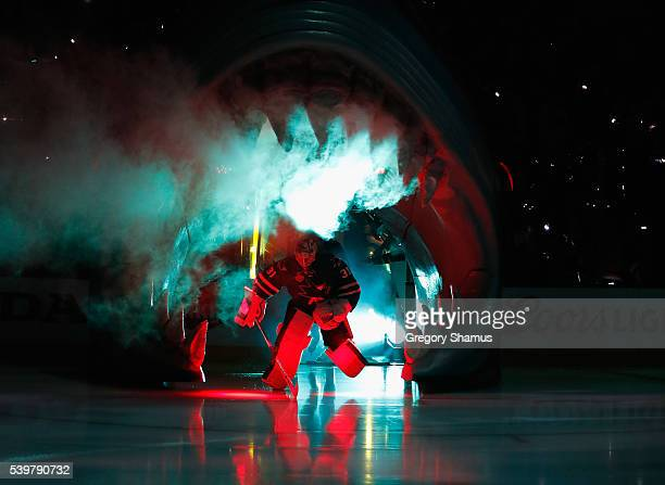 Goaltender Martin Jones of the San Jose Sharks takes the ice before plays the Pittsburgh Penguins in Game 6 of the 2016 NHL Stanley Cup Final at SAP...