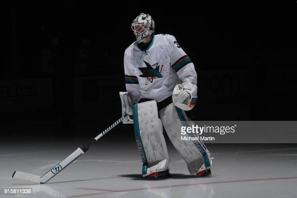 Goaltender Martin Jones of the San Jose Sharks takes to the ice for the 3rd period during the game against the Colorado Avalanche at the Pepsi Center...