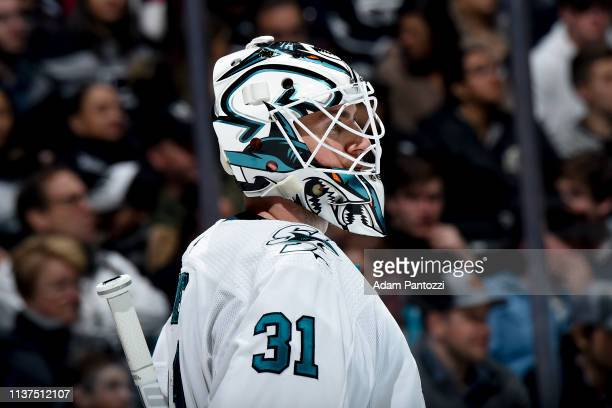 Goaltender Martin Jones of the San Jose Sharks waits for play to resume during the third period of the game against the Los Angeles Kings at STAPLES...