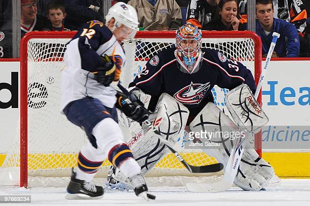 Goaltender Mathieu Garon of the Columbus Blue Jackets defends the net against the Atlanta Thrashers on March 11 2010 at Nationwide Arena in Columbus...