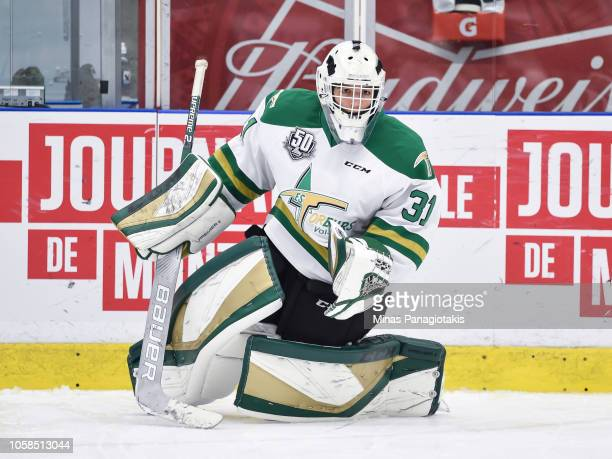 Goaltender Mathieu Marquis of the Valdu2019Or Foreurs skates in the warmup prior to the QMJHL game against the BlainvilleBoisbriand Armada at Centre...
