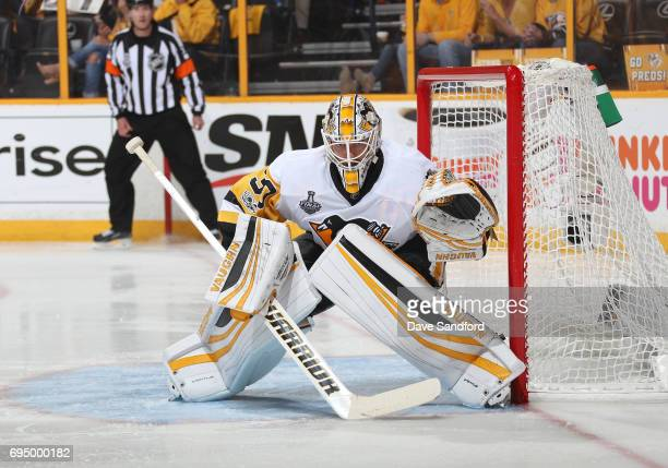 Goaltender Matt Murray of the Pittsburgh Penguins gets in position to defend his net in the third period of Game Six of the 2017 NHL Stanley Cup...