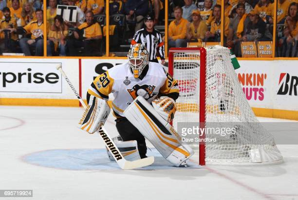 Goaltender Matt Murray of the Pittsburgh Penguins gets in position to defend his net in the first period of Game Six of the 2017 NHL Stanley Cup...