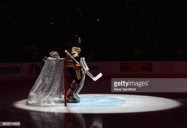 Goaltender Matt Murray of the Pittsburgh Penguins stands in goal during the singing of the national anthem before Game Five of the 2017 NHL Stanley...