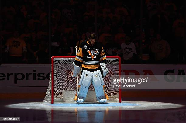 Goaltender Matt Murray of the Pittsburgh Penguins stands in net during the pregame for Game 5 of the 2016 NHL Stanley Cup Final against San Jose...