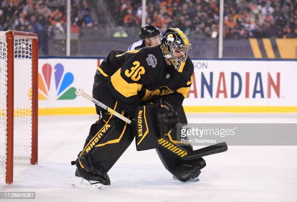 Goaltender Matt Murray of the Pittsburgh Penguins stands in position during the 2019 Coors Light NHL Stadium Series game between the Pittsburgh...