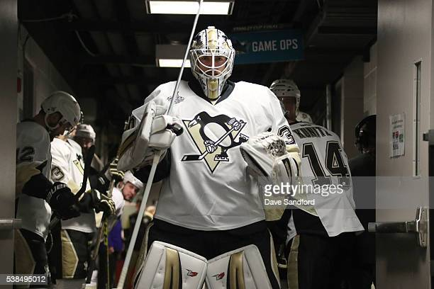 Goaltender Matt Murray of the Pittsburgh Penguins waits in the hallway with teammates prior to warmup for Game Four of 2016 NHL Stanley Cup Final...
