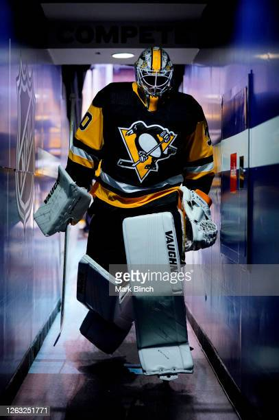 Goaltender Matt Murray of the Pittsburgh Penguins walks down the hallway after warming up to play against the Montreal Canadiens in Game One of the...