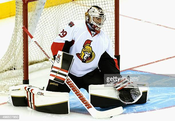 Goaltender Matt O'Connor of the Ottawa Senators warms up before the game against the Toronto Maple Leafs at the Air Canada Center on October 10 2015...
