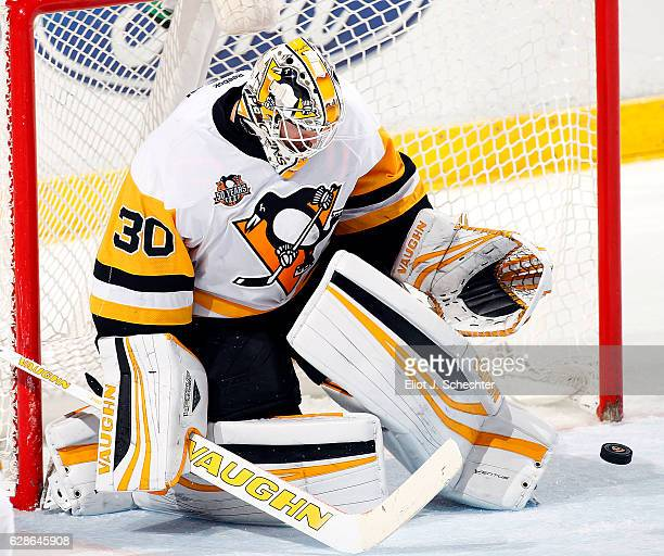 Goaltender Matthew Murray of the Pittsburg Penguins defends the net against the Florida Panthers at the BBT Center on December 8 2016 in Sunrise...