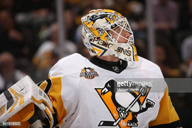 Goaltender Matthew Murray of the Pittsburgh Penguins skates against the Colorado Avalanche at the Pepsi Center on February 9 2017 in Denver Colorado...