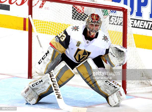 Goaltender Maxime Lagace of the Vegas Golden Knights guards the net during second period action against the Winnipeg Jets at the Bell MTS Place on...