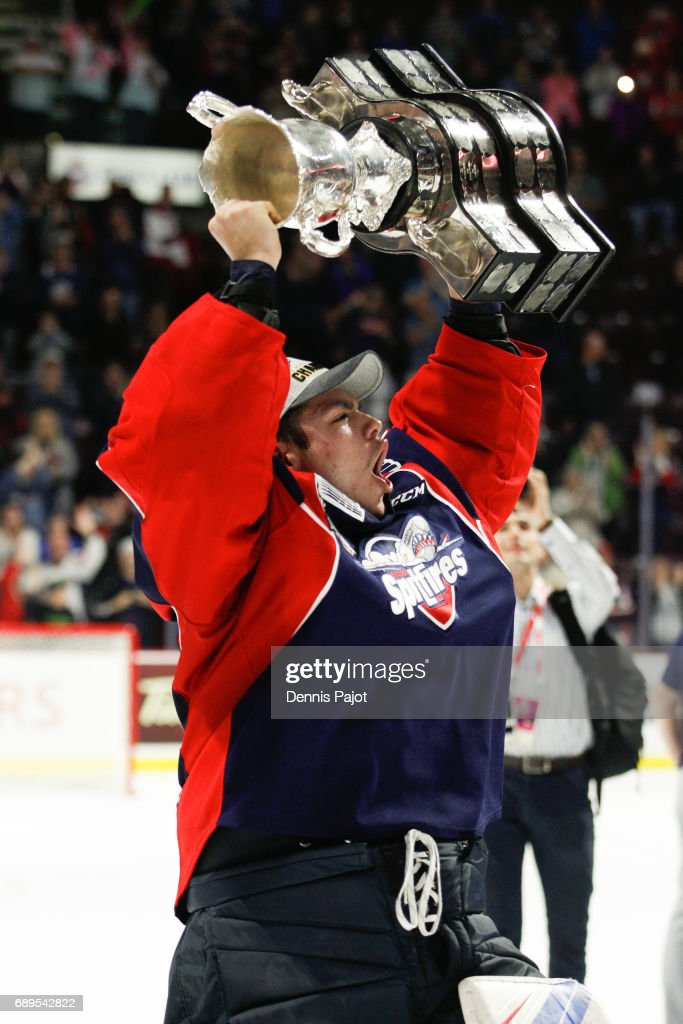 Goaltender Michael DiPietro #64 of the Windsor Spitfires celebrates winning the championship game of the Mastercard Memorial Cup against the Erie Otters 4-3 on May 28, 2017 at the WFCU Centre in Windsor, Ontario, Canada.