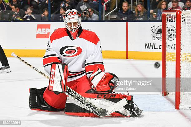 Goaltender Michael Leighton of the Carolina Hurricanes defends the net against the Columbus Blue Jackets on January 21 2017 at Nationwide Arena in...