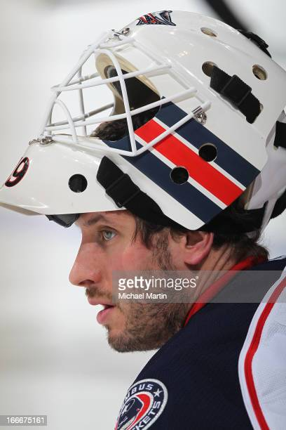 Goaltender Michael Leighton of the Columbus Blue Jackets skates prior to the game against the Colorado Avalanche at the Pepsi Center on April 15 2013...
