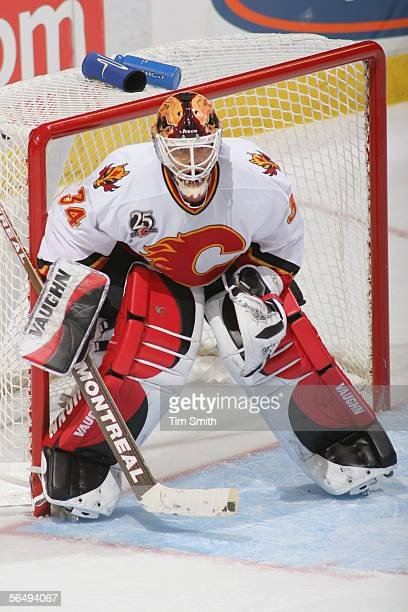 Goaltender Miikka Kiprusoff of the Calgary Flames gets set to make a save during the NHL game against the Edmonton Oilers at Rexall Place on December...