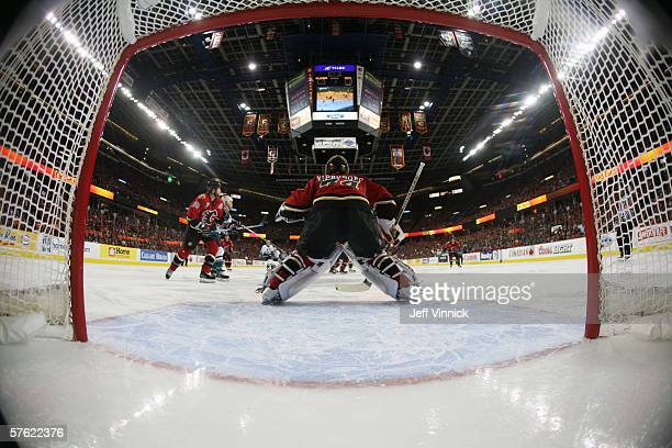 Goaltender Miikka Kiprusoff of the Calgary Flames gets set to make a save against the Anaheim Mighty Ducks in game seven of the Western Conference...