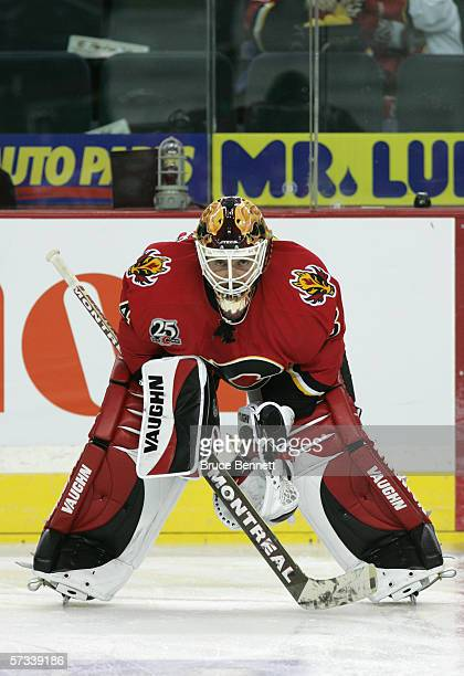 Goaltender Miikka Kiprusoff of the Calgary Flames guards the net during the game against the Los Angeles Kings on March 29 2006 at the Pengrowth...