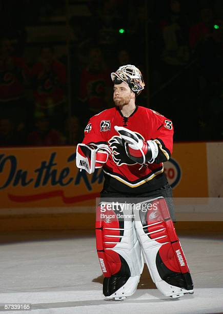 Goaltender Miikka Kiprusoff of the Calgary Flames looks on the ice as he is introduced before the game against the Los Angeles Kings on March 29 2006...