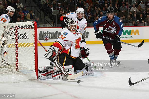 Goaltender Miikka Kiprusoff the Calgary Flames makes a save against the Colorado Avalanche at the Pepsi Center on November 5, 2007 in Denver,...