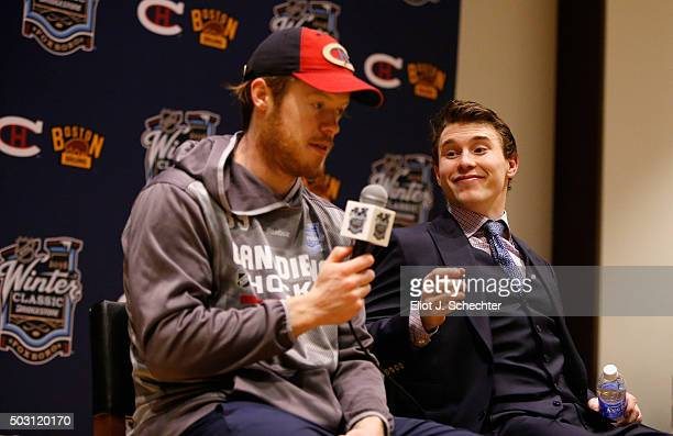 Goaltender Mike Condon and Brendan Gallagher of the Montreal Canadiens speak to the media after their team defeated the Boston Bruins 51 in the 2016...