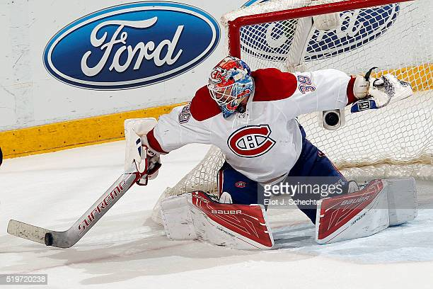 Goaltender Mike Condon of the Montreal Canadiens defends the net against the Florida Panthers at the BBT Center on April 2 2016 in Sunrise Florida