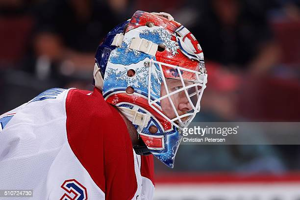 Goaltender Mike Condon of the Montreal Canadiens during the NHL game against the Arizona Coyotes at Gila River Arena on February 15 2016 in Glendale...