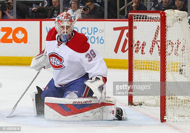 Goaltender Mike Condon of the Montreal Canadiens guards the net during first period action against the Winnipeg Jets at the MTS Centre on March 5...