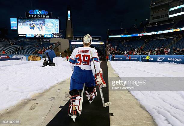 Goaltender Mike Condon of the Montreal Canadiens leaves the field after his team defeated the Boston Bruins 51 in the 2016 Bridgestone NHL Classic at...