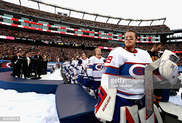 Goaltender Mike Condon of the Montreal Canadiens looks on before the start of the 2016 Bridgestone NHL Classic against the Boston Bruins at Gillette...