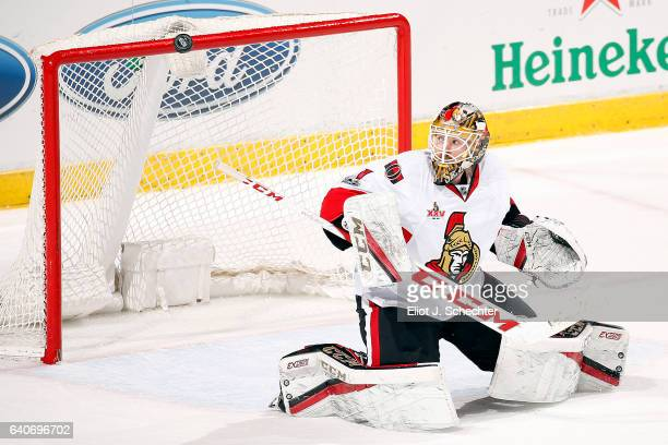 Goaltender Mike Condon of the Ottawa Senators defends the net against the Florida Panthers at the BBT Center on January 31 2017 in Sunrise Florida
