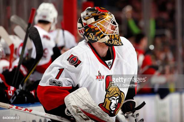 Goaltender Mike Condon of the Ottawa Senators skates back to the net after a break in the action against the Florida Panthers at the BBT Center on...