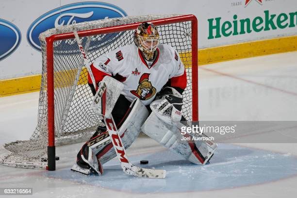 Goaltender Mike Condon of the Ottawa Senators warms up prior to the game against the Florida Panthers at the BBT Center on January 31 2017 in Sunrise...