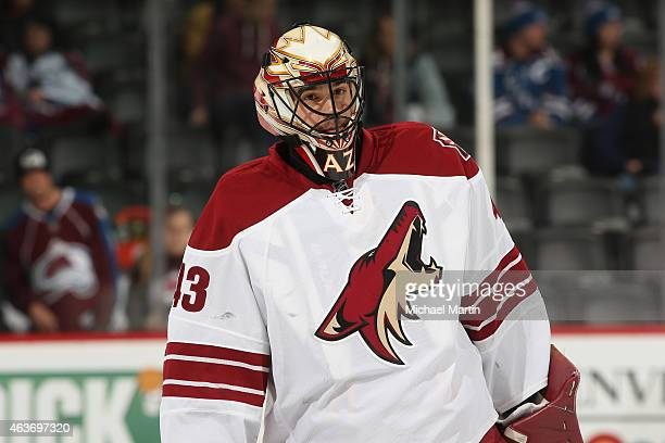 Goaltender Mike McKenna of the Arizona Coyotes skates prior to his first NHL appearance against the Colorado Avalanche at the Pepsi Center on...