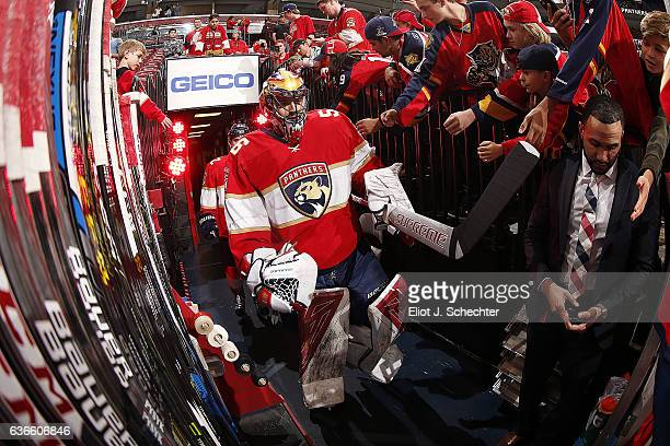 Goaltender Mike McKenna of the Florida Panthers heads out to the ice prior to the start of the game against the Boston Bruins at the BBT Center on...
